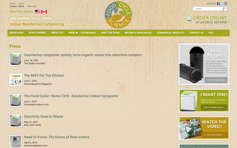 Screenshot of Press Page nofoodwaste.com - Press | Food Cycle Science | Food Waste Solutions | Recycling Machine for Food Waste - captured Oct. 6, 2014