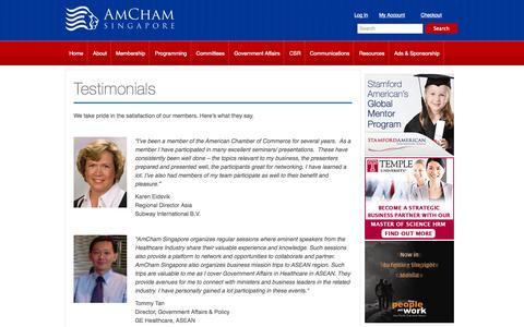 Screenshot of Testimonials Page amcham.org.sg - Testimonials | The American Chamber of Commerce in Singapore - captured Oct. 4, 2014