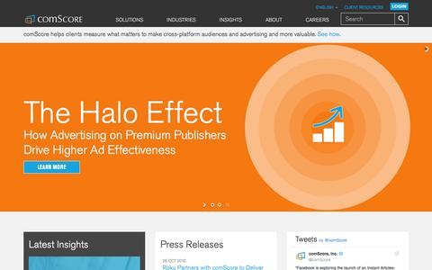 Screenshot of Home Page comscore.com - Precisely Everywhere - comScore, Inc. - captured Oct. 28, 2016