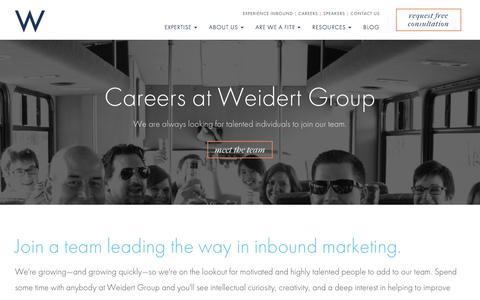 Screenshot of Jobs Page weidert.com - Careers | Weidert Group - captured March 15, 2018
