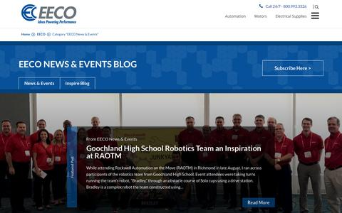 Screenshot of Press Page eecoonline.com - EECO News & Events Archives | EECO - Electrical Equipment Company - captured Oct. 27, 2017