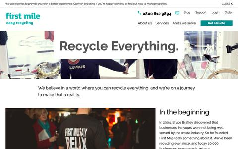 Screenshot of About Page thefirstmile.co.uk - Find out more about us | Easy Recycling | First Mile - captured Sept. 26, 2018