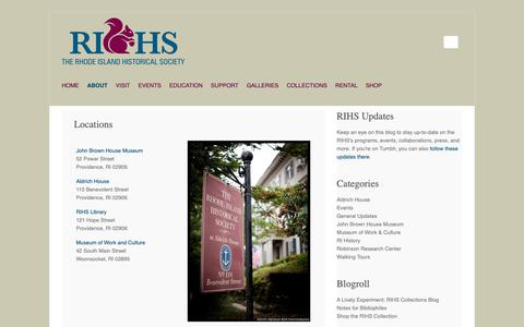 Screenshot of Locations Page rihs.org - Locations – Rhode Island Historical Society - captured Oct. 20, 2018