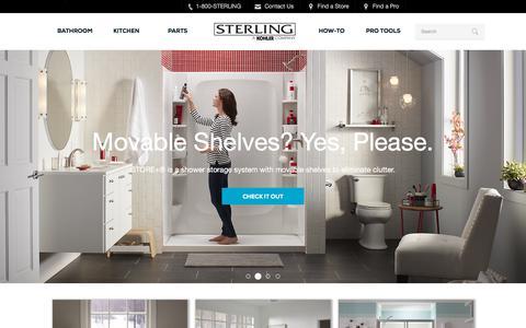 Screenshot of Home Page sterlingplumbing.com - Sterling Plumbing   Bathroom and Kitchen products, Shower Doors, Baths, Showers, Toilets, Bathroom Sinks, Kitchen Sinks - captured Nov. 19, 2017