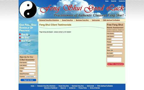 Screenshot of Testimonials Page fengshuigoodluck.com - Our Feng Shui Client Testimonials - Feng Shui Good Luck! - captured Sept. 30, 2014