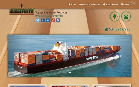 Screenshot of Products Page kenwoodlumber.com - Kenwood Lumber | Manufacturing & Distribution | High Quality Forest Products | British Columbia, Canada - captured Feb. 12, 2016