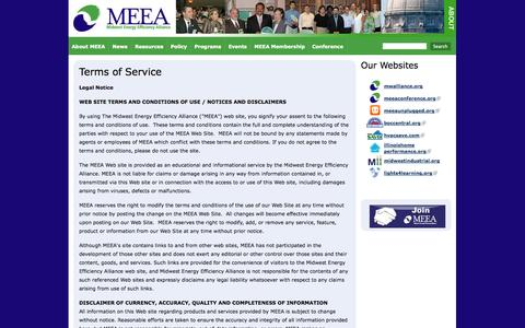 Screenshot of Terms Page mwalliance.org - Terms of Service | MEEA - captured Oct. 6, 2014