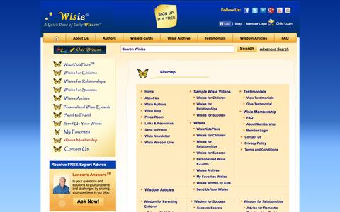 Screenshot of Site Map Page wisie.com - List Of All Pages Of Wisie - captured Oct. 8, 2014