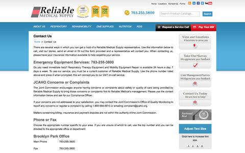 Screenshot of Blog reliamed.com - Contact Us Reliable Medical Supply - Corporate Headquarters Brooklyn Park, MN (763) 255-3800 - captured Nov. 7, 2017