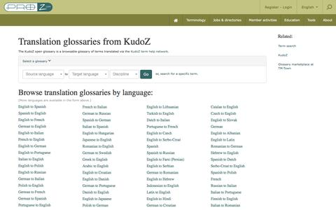 Translation glossaries in various languages and disciplines