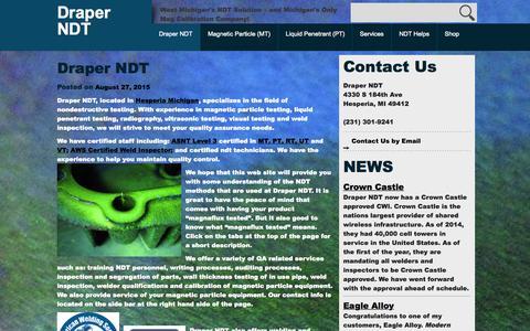 Screenshot of Home Page draperndt.com - Draper NDT - Draper NDT - captured Sept. 12, 2015