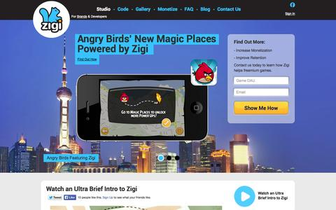 Screenshot of Developers Page zigi.com - Zigi Studio for Developers - captured Sept. 30, 2014
