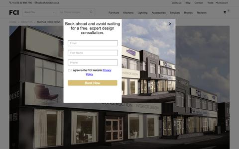 Screenshot of Contact Page fcilondon.co.uk - How to get to FCI - London's Largest Furniture Showroom. - captured March 18, 2019