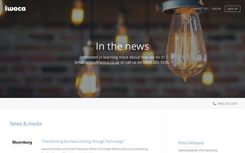 Screenshot of Press Page iwoca.co.uk - iwoca -  News and media - captured Dec. 3, 2015