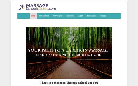 Screenshot of Home Page massageschoolsguide.com - Massage Therapy Schools and Career Guide - captured Sept. 20, 2018