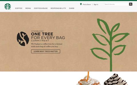 Screenshot of Home Page starbucks.com.sg - Starbucks Coffee Company - captured Oct. 1, 2015