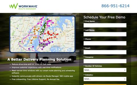 Screenshot of Landing Page workwave.com - Route Manager - captured May 17, 2017