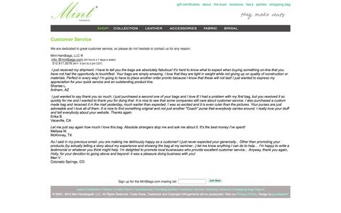 Screenshot of Support Page mintbags.com - Customer Service - The Original Mint Handbags ®, Unique Handbags and Accessories - Customer Service - captured Sept. 30, 2014