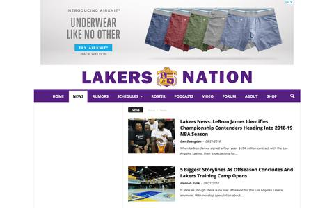 Screenshot of Press Page lakersnation.com - News Archives - Lakers Nation - captured Sept. 21, 2018