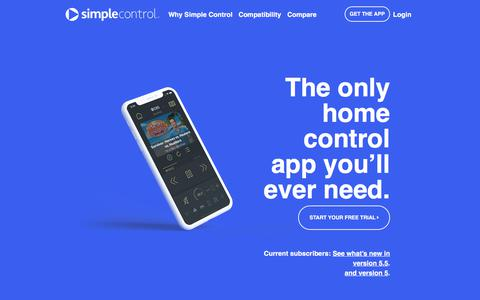 Screenshot of Home Page simplecontrol.com - iPhone and iPad Universal Remote Control for Home Theaters - captured Sept. 21, 2018