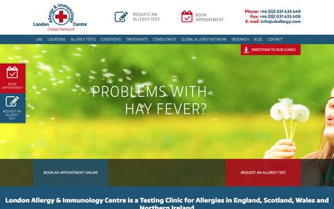 Screenshot of Home Page ukallergy.com - London Allergy & Immunology Centre offers Consultations and Allergy Testing Clinic Allergy UK - Private Allergy Clinic in London is testing for Allergy UK wide: in England, Scotland, Wales, Northern Ireland - captured Feb. 1, 2016