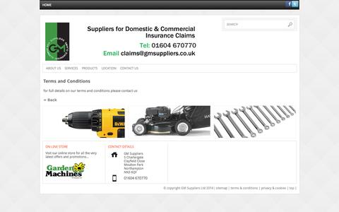 Screenshot of Terms Page gmsuppliers.co.uk - GM Suppliers Terms and Conditions - captured Sept. 27, 2014