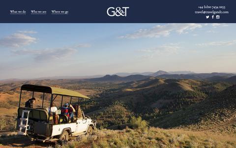Screenshot of Home Page travelgandt.com - G&T - Travel Mixologists - captured Dec. 7, 2018