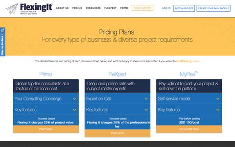 Screenshot of Pricing Page flexingit.com - Flexing It ™ Pricing Options for Companies: Plans for every type of business - captured March 7, 2017
