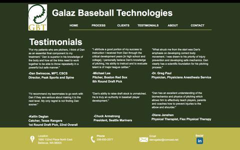 Screenshot of Testimonials Page galazbt.com - Galaz Baseball Technologies | Seattle | TESTIMONIALS - captured July 14, 2017