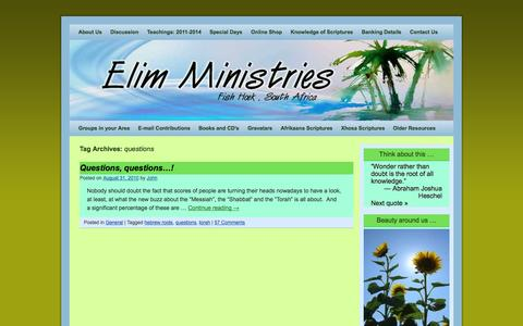 Screenshot of FAQ Page elim.co.za - questions Archives - Elim Ministries - captured Oct. 27, 2014