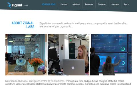Screenshot of About Page zignallabs.com - About - Zignal Labs - captured April 24, 2018