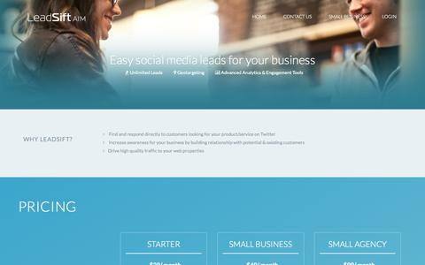 Screenshot of Signup Page leadsift.com - LeadSift for Small Business - captured Sept. 22, 2014