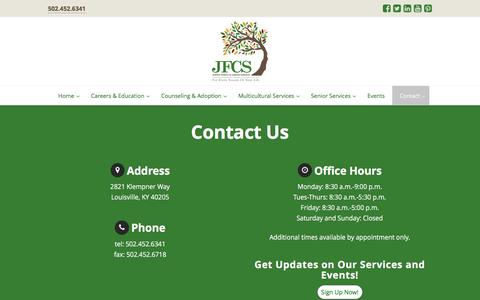 Screenshot of Contact Page jfcslouisville.org - Jewish Family & Career Services- Contact Us - captured Sept. 26, 2016