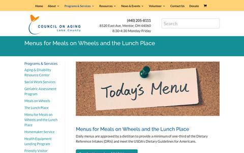 Screenshot of Menu Page lccoa.org - Menu for Meals on Wheels and the Lunch Place   Lake County Council on Aging - captured Nov. 9, 2018
