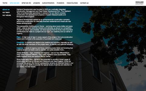 Screenshot of About Page highlanddevelopment.net - About-us - captured Sept. 30, 2014