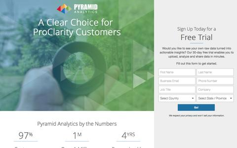 Screenshot of Landing Page pyramidanalytics.com - Proclarity, a Blast From the Past - captured March 19, 2017