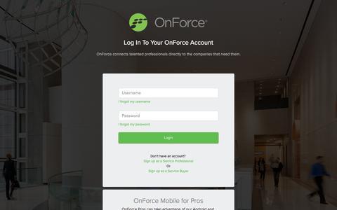 Screenshot of Login Page onforce.com - OnForce - captured April 3, 2017