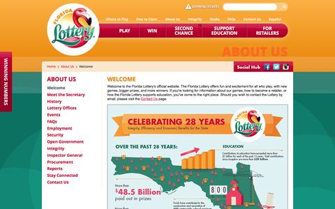 Screenshot of About Page flalottery.com - Florida Lottery - Welcome - captured Jan. 13, 2016