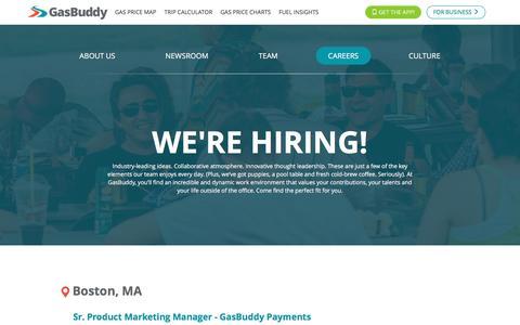Screenshot of Jobs Page gasbuddy.com - Careers - GasBuddy.com - captured Oct. 3, 2016