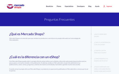 Screenshot of FAQ Page mercadoshops.com.ar - Creá tu Tienda Online con Mercado Shops - captured Sept. 24, 2018