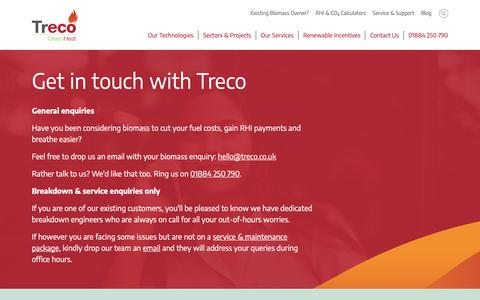 Screenshot of Contact Page treco.co.uk - Contact the UK's leading biomass specialist | Treco - captured Oct. 20, 2018