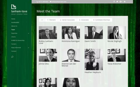 Screenshot of Team Page lanham-love.com - Team - Lanham-Love Attorneys - captured Sept. 27, 2018