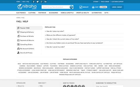 Screenshot of FAQ Page nitraha.com - FAQs - Nitraha.com | Best online Shopping website in  India - captured Oct. 26, 2014