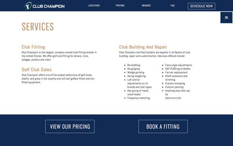 Screenshot of Services Page clubchampiongolf.com - Services | Club Champion is the #1 premium golf club fitter - captured Aug. 3, 2017