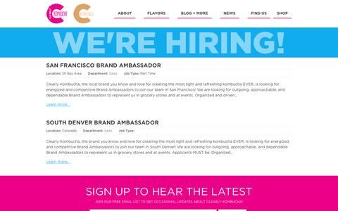Screenshot of Jobs Page clearlykombucha.com - Job Listings       :       ClearlyKombucha.com - captured Dec. 3, 2016