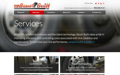 Screenshot of Services Page bauerbuilt.com - Tire Service - Tire Repair - captured Feb. 7, 2016