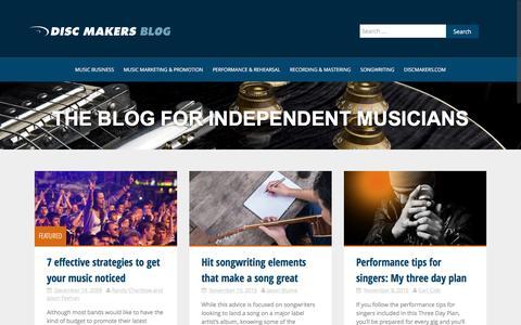 Screenshot of Blog discmakers.com - Music Promotion For Independent Musicians   Disc Makers Blog - captured Nov. 13, 2016
