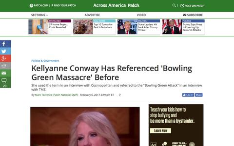 Screenshot of patch.com - Kellyanne Conway Has Referenced 'Bowling Green Massacre' Before - Across America, US Patch - captured Feb. 7, 2017