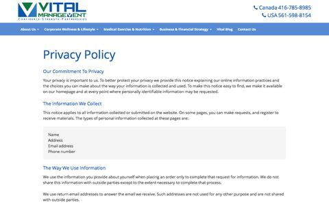 Screenshot of Privacy Page vitalmanagementinc.com - Privacy Policy - Vital Management Inc. - captured Feb. 28, 2016