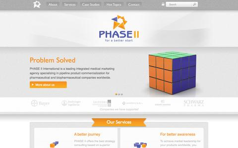 Screenshot of Home Page phase-ii.com - PHASE II - The full service medical marketing specialists - captured Sept. 29, 2014